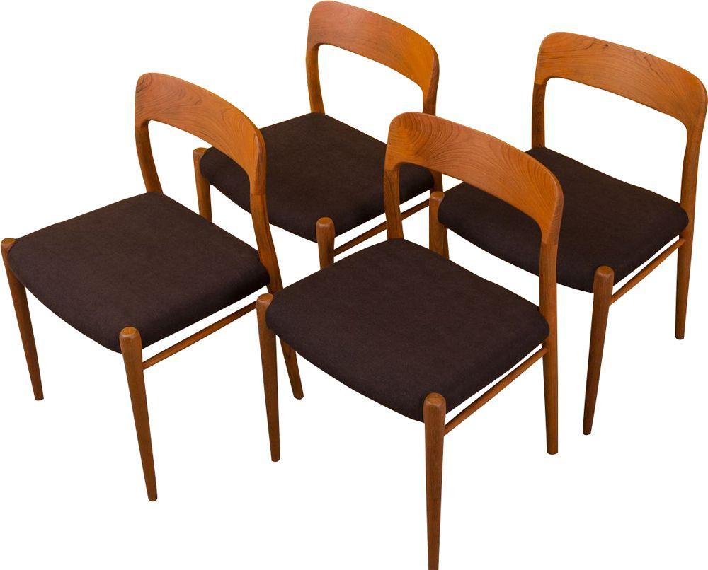 4 Vintage dining chair Niels O. Møller 1950s - Design Market