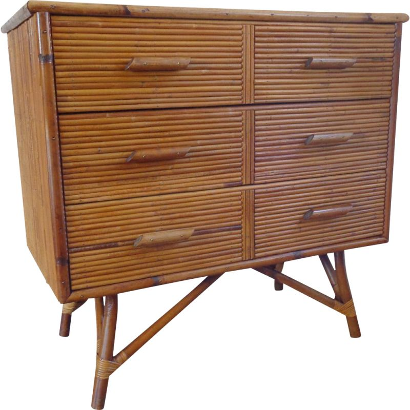 Vintage Bamboo Rattan Chest of Drawers 1960