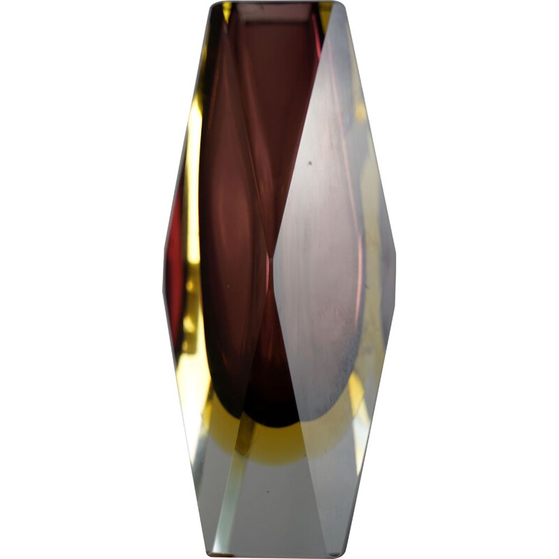 """Vintage purple and yellow """"sommerso"""" murano glass vase by Flavio Poli. Italy 1960"""