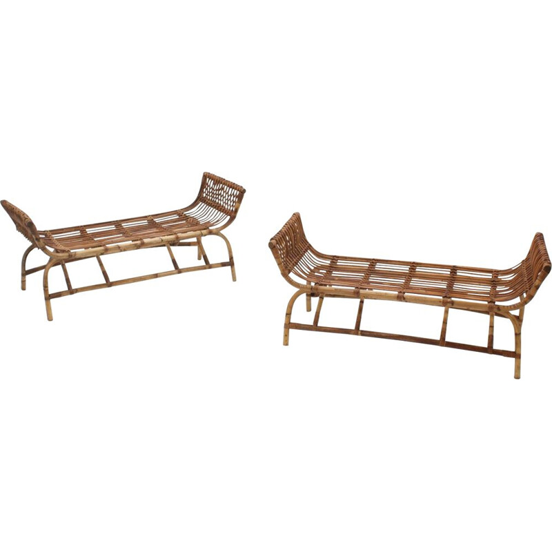 Pair of Mid century Bonacina rattan bench 1950s