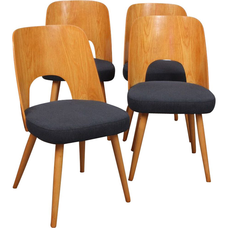 Suite of 4 vintage chairs by Oswald Haerdlt for Tatra Nabytok, 1950