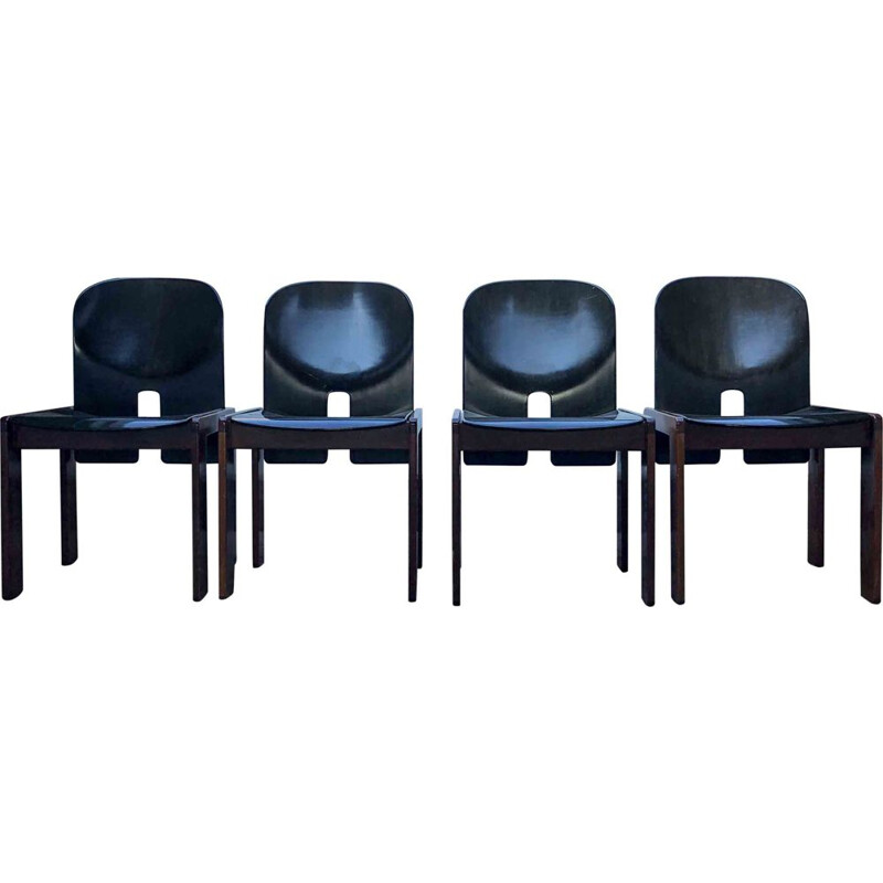 Set of 4 Vintage Dark Brown Lacquered Walnut Model 121 Dining Chairs by Tobia & Afra Scarpa for Cassina, 1960s