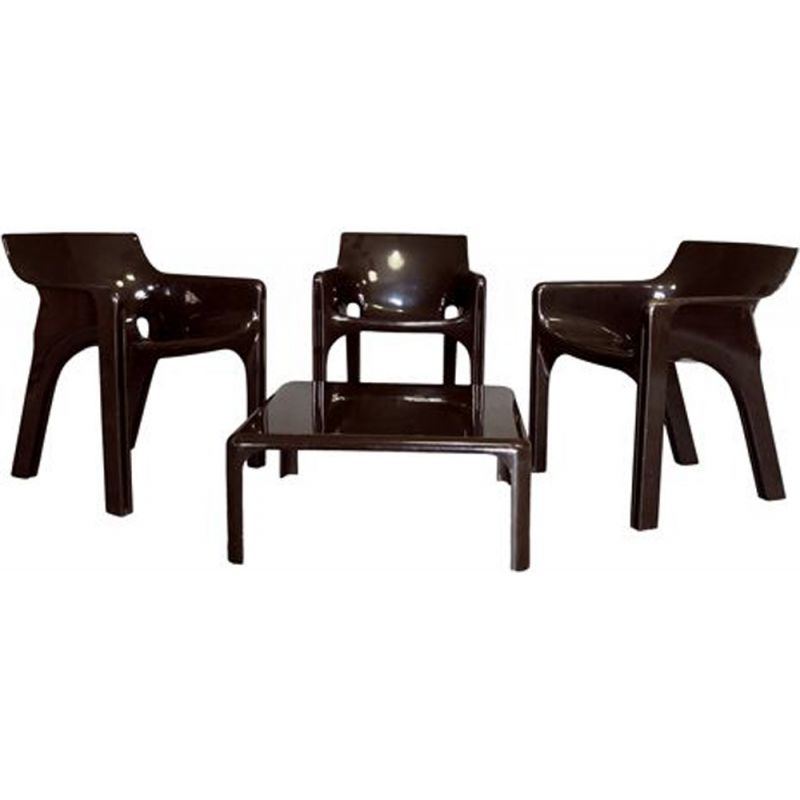 Set of 4 vintage Gaudi Armchairs and Demetrio Coffee Table Set by Vico Magistretti for Artemide, 1974