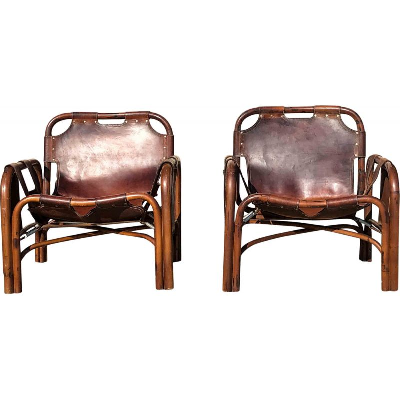 Pair of Mid-Century Leather and Bamboo Lounge Chairs by Tito Agnoli, Italian 1960s