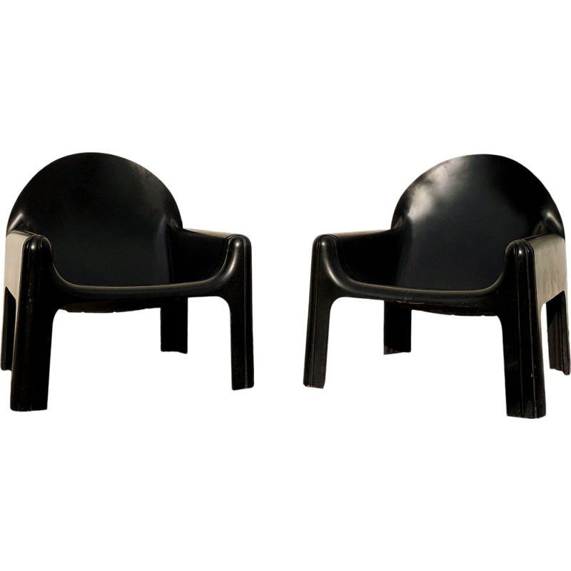 Pair of vintage Black Model 4794 Lounge Chairs by Gae Aulenti for Kartell, Italian 1970s