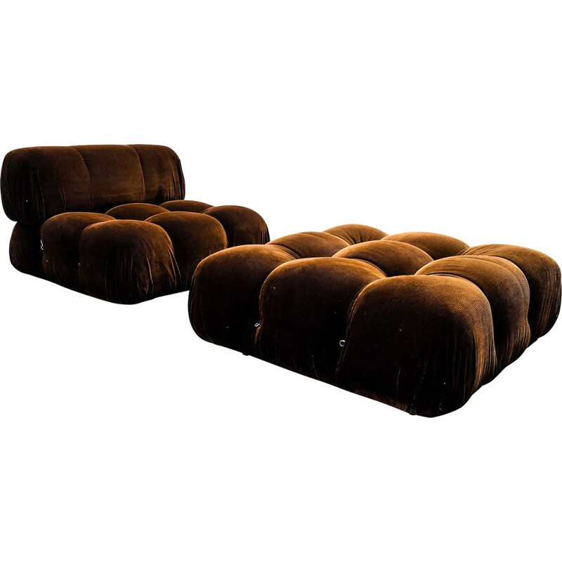 Vintage Lounge Chair and Ottoman Set Brown Velvet Model Camaleonda by Mario Bellini for B&B Italia  C&B Italia, 1970s