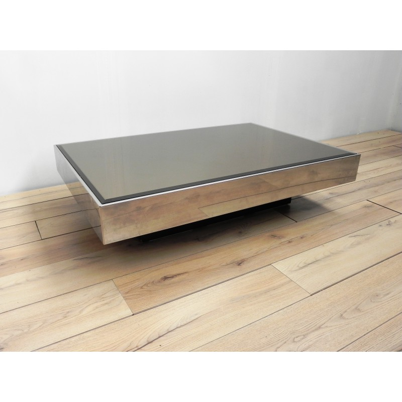 Italian Coffee Table In Glass And Chromed Metal 1970s Design Market