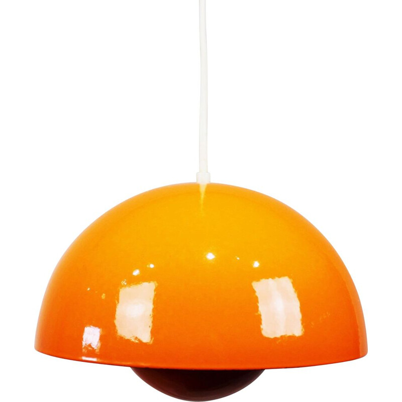 Vintage pendant Orange Flowerpot, model VP1, by Verner Panton 1968