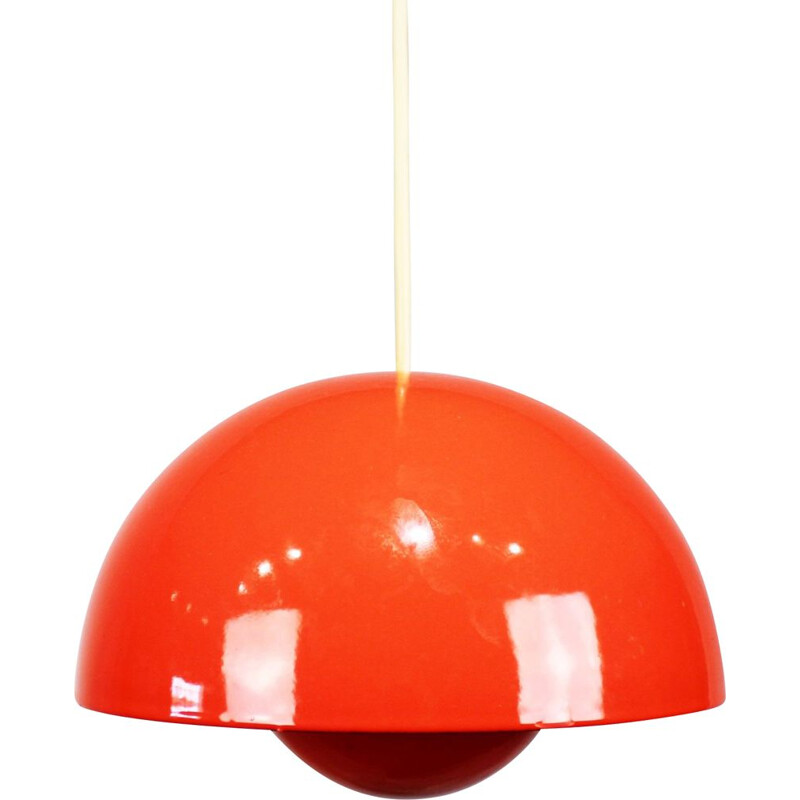 Vintage Red Flowerpot, model VP1, pendant by Verner Panton 1968