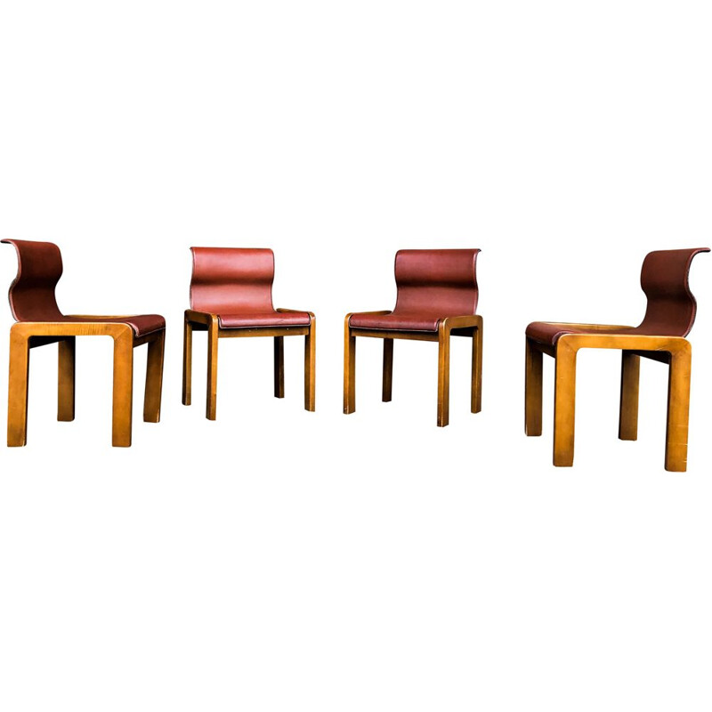 Set of 4 vintage Leather & Plywood Dining Chairs by Tobia & Afra Scarpa, 1966