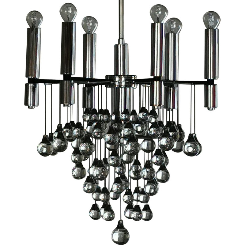 Vintage Chandelier with 79  Murano glass drops, by Gaetano Scolari 1965