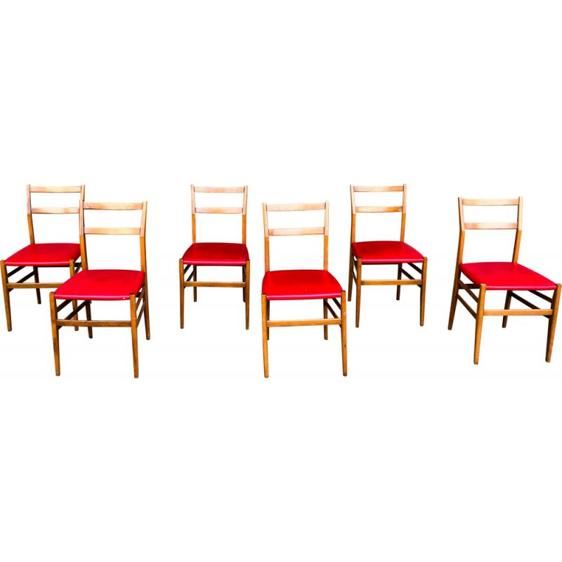 6 vintage Ash and Red Faux Leather Model Leggera Dining Chairs by Gio Ponti for Cassina, 1950s