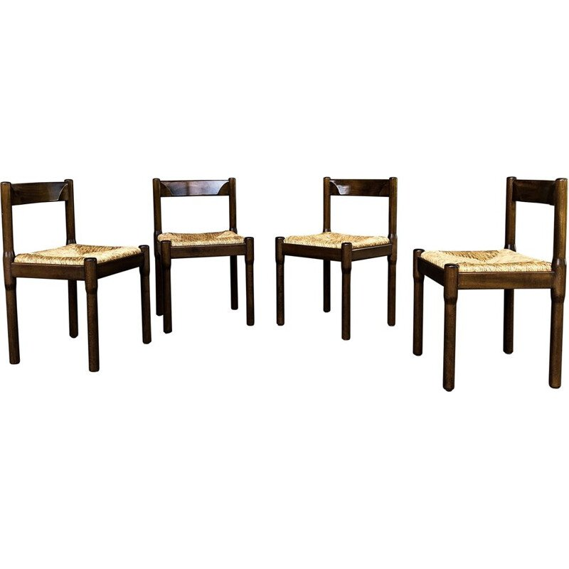 Set of 4 vintage Beech and Straw Carimate Dining Chairs by Vico Magistretti for Cassina, Italian 1963