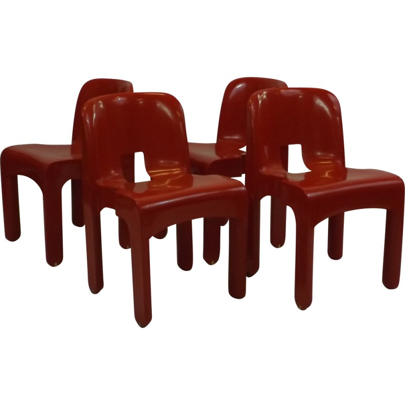 Set of 4 Kartell red \