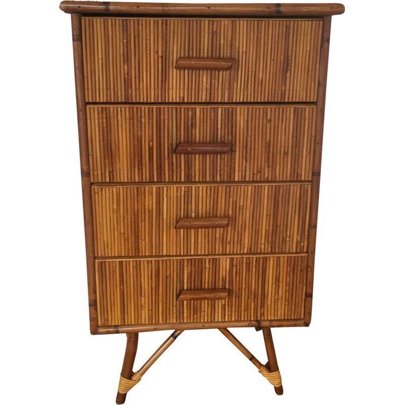 Vintage Bamboo chest of drawers Audoux & Minet 1960s