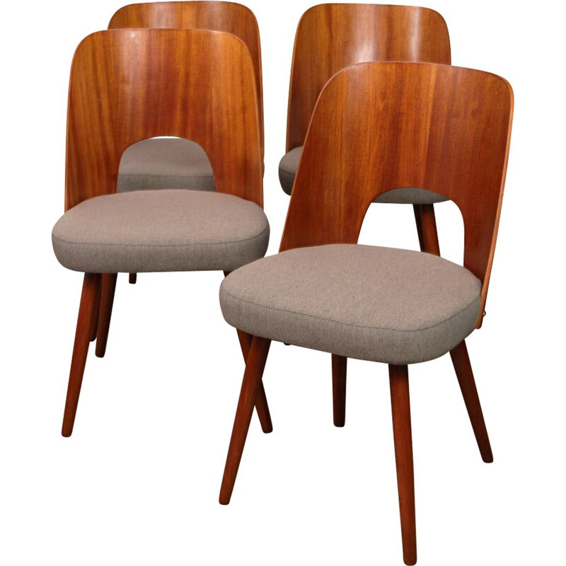 Set of 4 vintage chairs by Oswald Haerdlt for Tatra Nabytok, 1950
