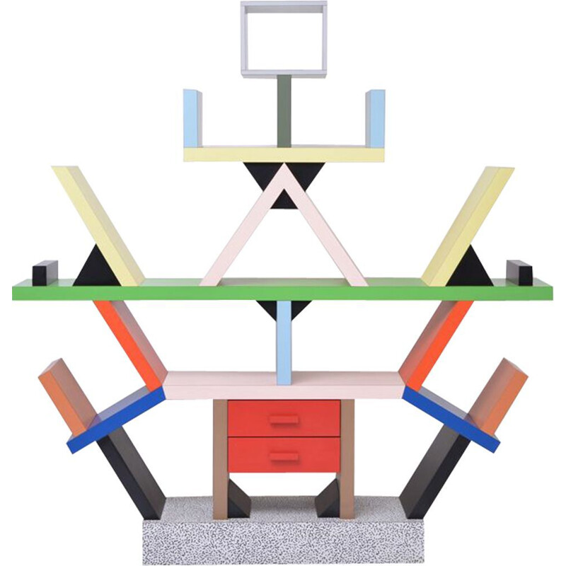 Vintage totemic Carlton bookcase by Ettore Sottsass for Memphis Milano, 1981