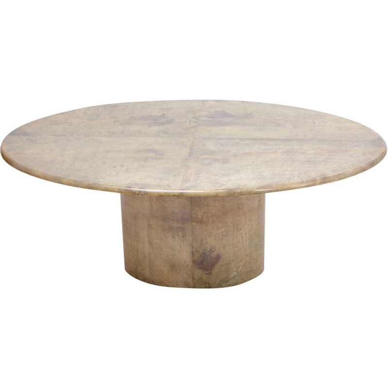 Vintage oval dining table by Aldo Tura in lacquered Goatskin, Italy 1970s