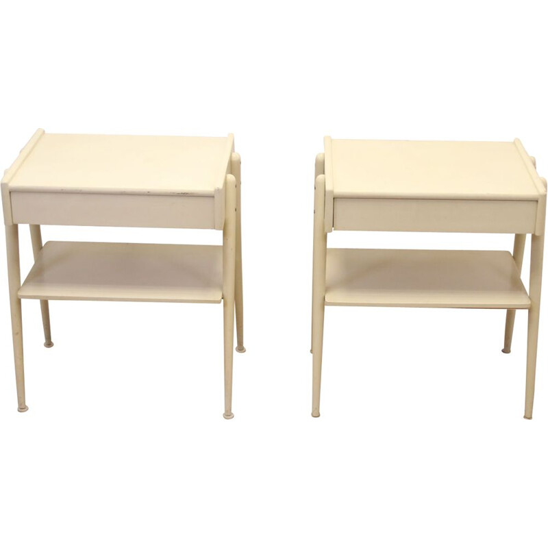 Pair of bedside tables vintage white by Carlstrom & Co Mobelfabriek, 1960s