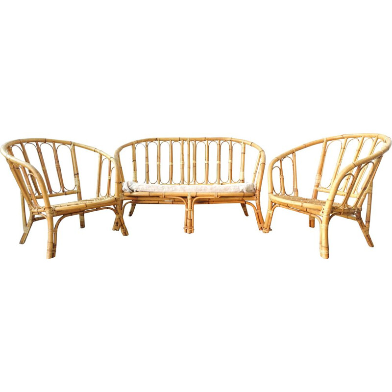 Mid-century Bamboo Living Room Set, two seat sofa and 2 armchairs, 1960s