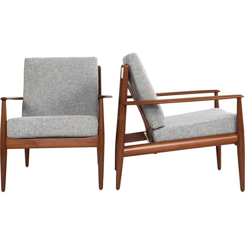 Midcentury pair of easy chairs in teak by Grete Jalk for France & Søn Danish 1960s