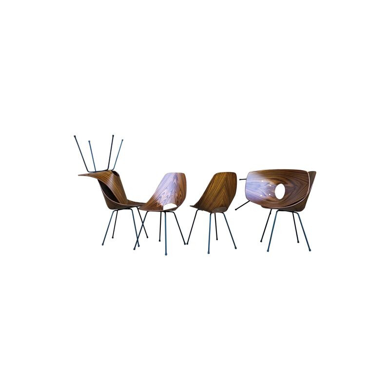 Mid-Century set of 6 Teak Medea Dining Chairs by Vittorio Nobili for Fratelli Tagliabue, 1956