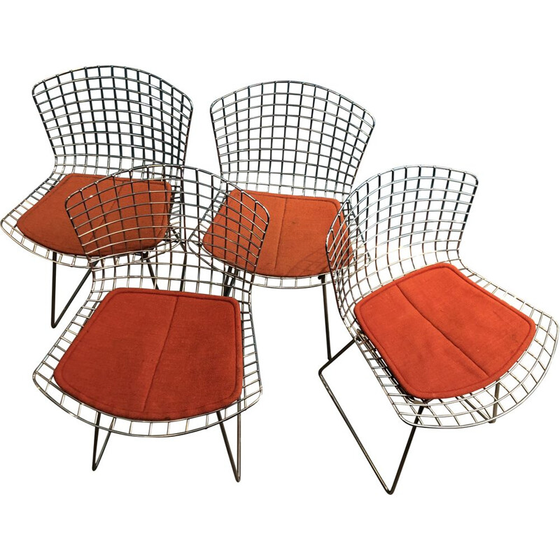 Lot of 4 vintage side chairs by Harry Bertoia for Knoll