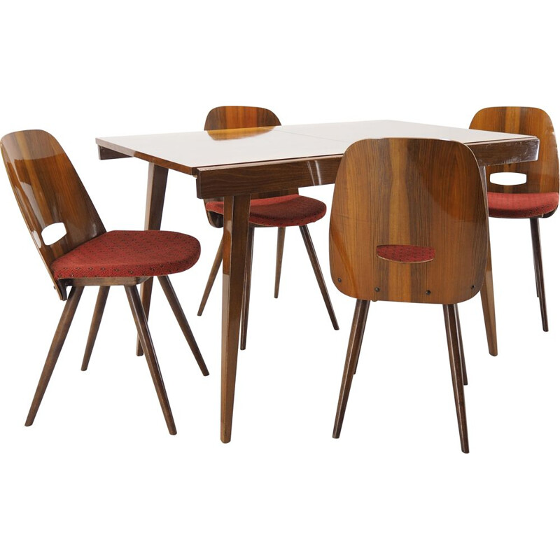 Vintage Dining Room Set  Chairs and Dining Table, Tatra Pravenec, 1960s