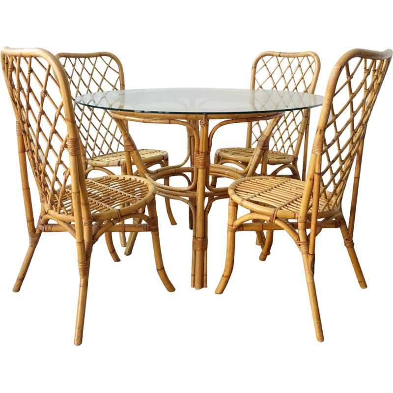 Mid-century Bamboo Dining Set, Table and 4 chairs, 1960s