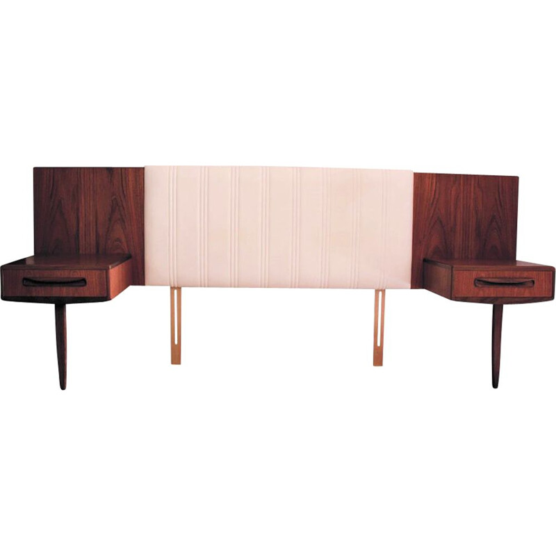 Mid Century Teak Headboard with 2 Floating Bedside tables by V B Wilkins, G Plan Fresco 1960s