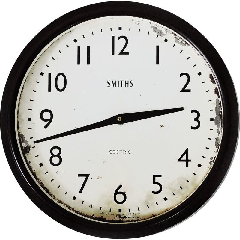 Vintage Wall Clock, Smiths Sectric Converted Quartz Bakelite  1930s