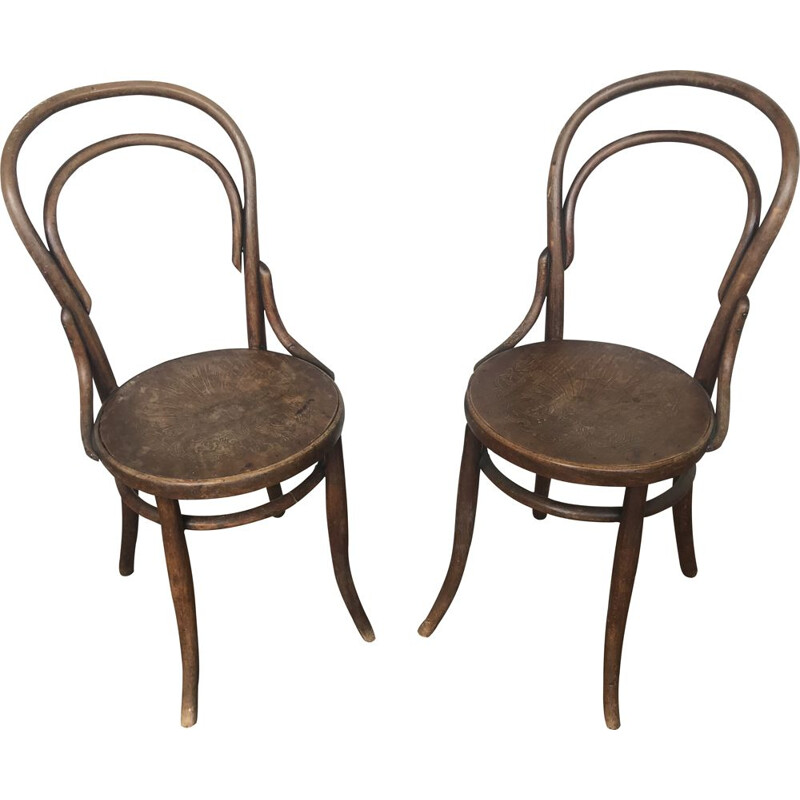 Pair of vintage Thonet bentwood chairs 1950