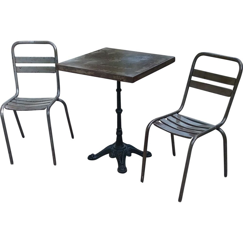 Vintage bistro set with metal tray and 2 metal chairs
