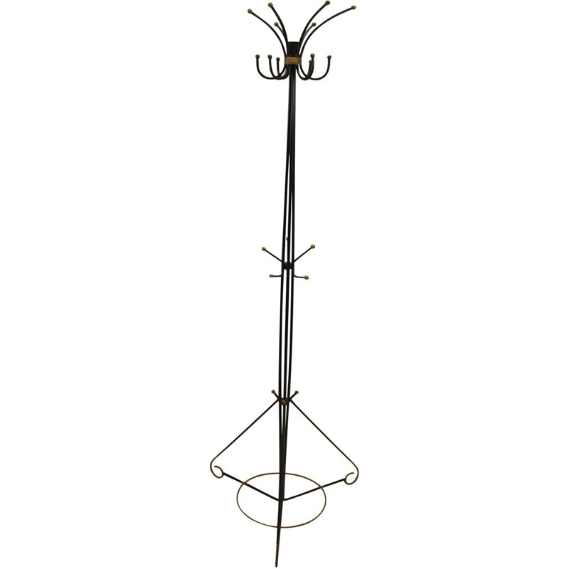 Vintage iron coat rack by Jean Royere 1950