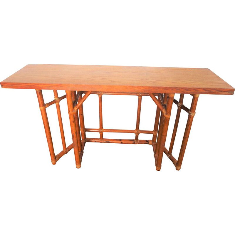 Vintage bamboo console table 1950