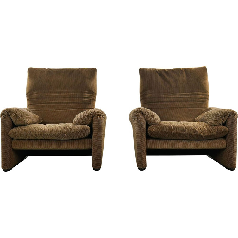 Pair of Maralunga Loungechairs by Cassina, Italy 1973