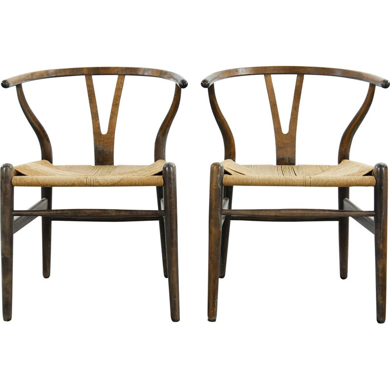 Pair of CH24 Wishone Dining Chairs by Hans Wegner for Carl Hansen, Denmark 1950