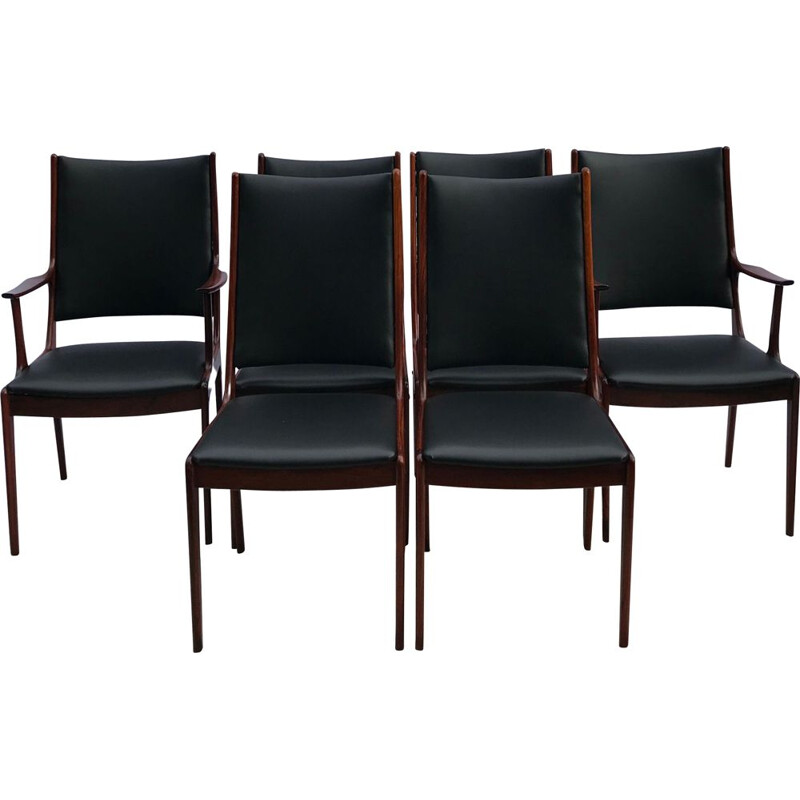 Set of 6 Mid Century  Brazilian Rosewood High Back Dining Chairs by Johannes Andersen for Uldum Danish Møbelfabric