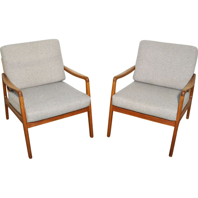 Pair of Mid-century easy chairs fd109 by Ole Wanscher for France & Son teak Danish 1960