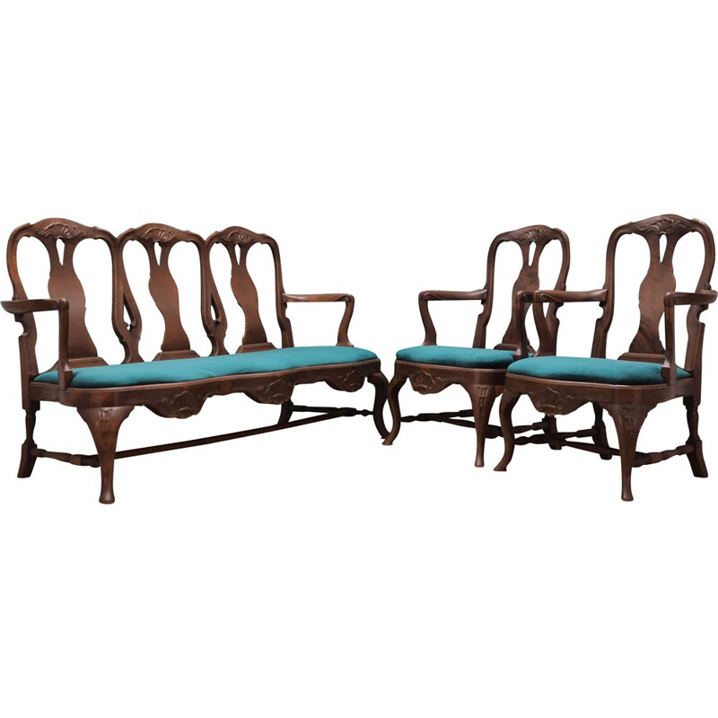Vintage walnut wood living room set Chippendale 1970s