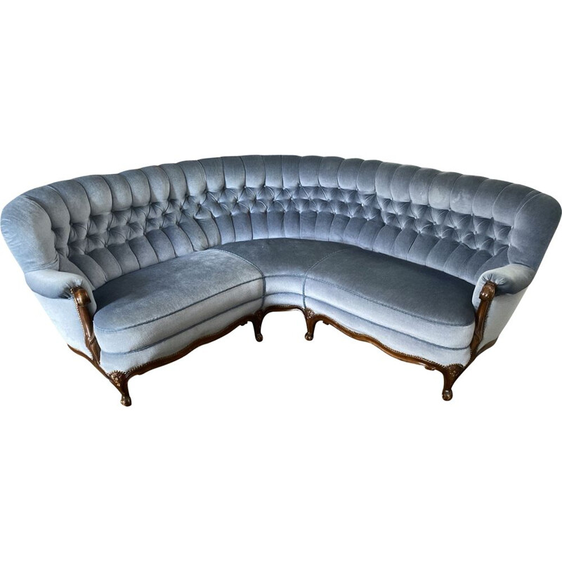 Mid Century Sofa, Couch, Chippendale blue Fabric Cover, Germany, 1950
