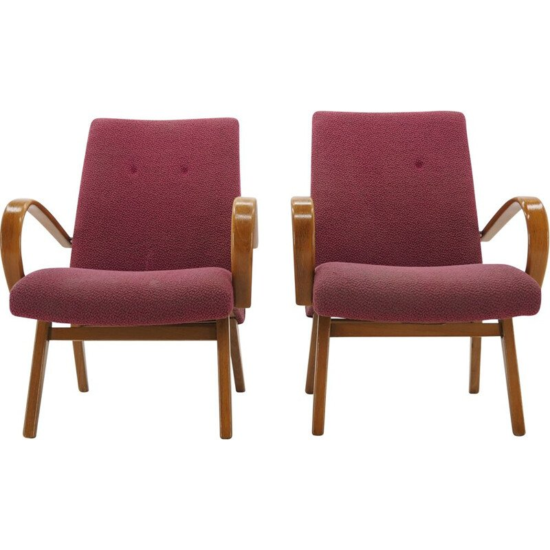 Pair of Midcentury Armchairs by Jindrich Halabala, Czechoslovakia, 1960s