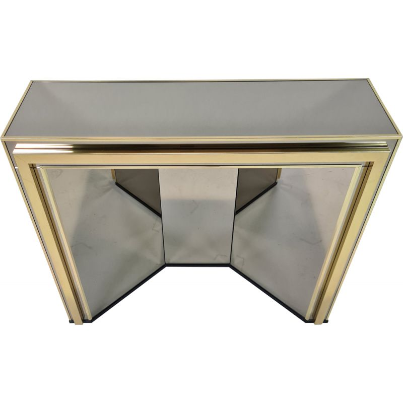 Vintage Gold-plated & smoked mirrored glass console table by Belgo Chrom, 1980s