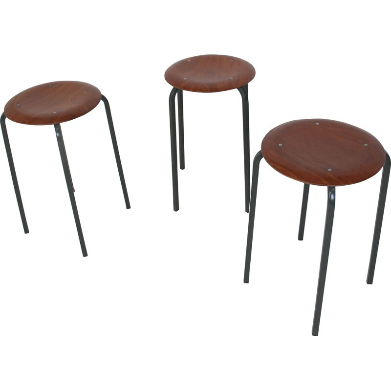 Set of 3 vintage Industrial Stools from Marko, 1950s