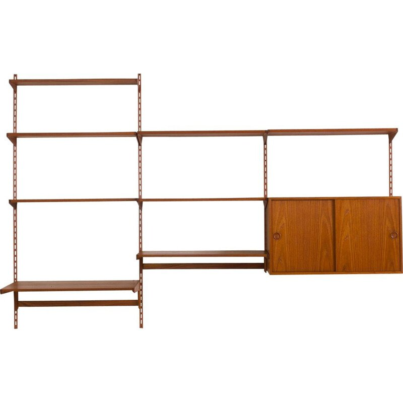 Vintage teak wall unit with large desk shelf and files cabinet Kai Kristiansen 1960