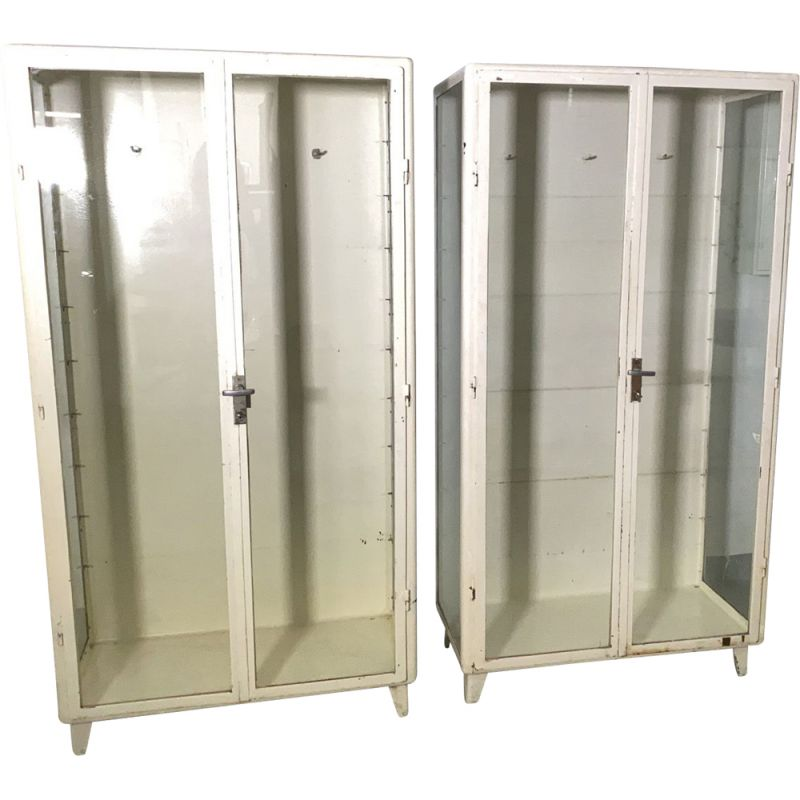 Pair of vintage Medicine Cabinet Display Cabinet Metal Industrial Comes with 4 Glass Shelves