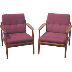 Pair of scandinavian armchairs in teak and fabric - 1960s