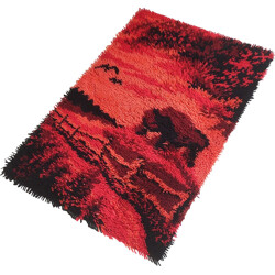 Scandinavian rug in red and pink wool mix - 1970s