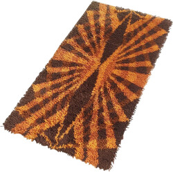 Scandinavian rug in orange and brown wool mix - 1970s