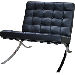 Barcelona chair in black leather, Ludwig MIES VAN DER ROHE - 1970s